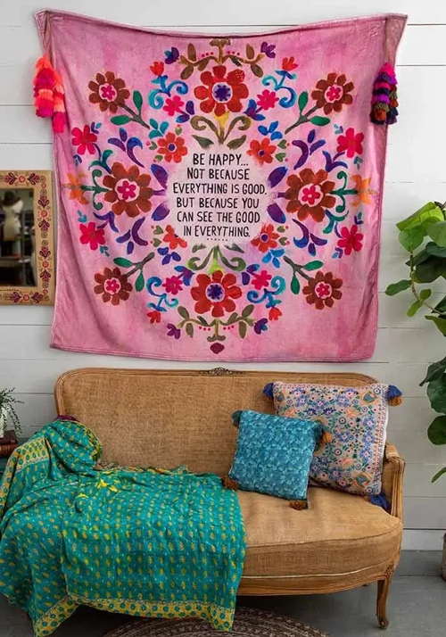 pink be happy tapestry