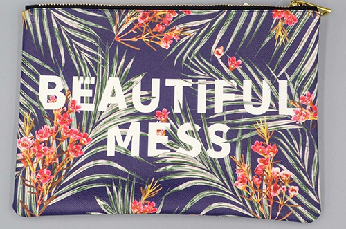 beautiful mess floral makeup bag