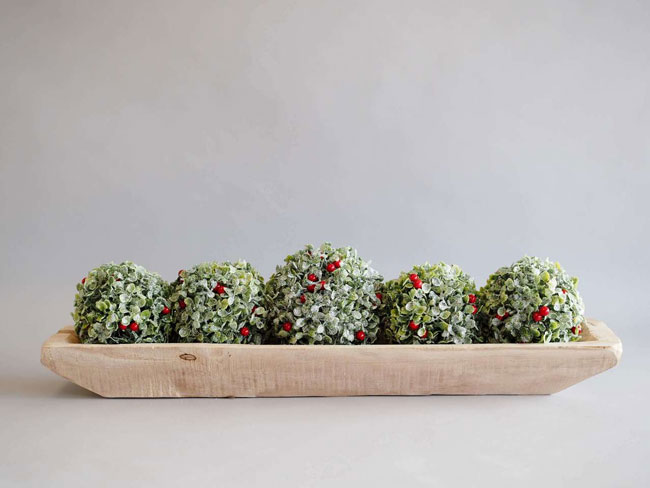 Three green holly-ball, Christmas tree rustic farmhouse Christmas decorations.