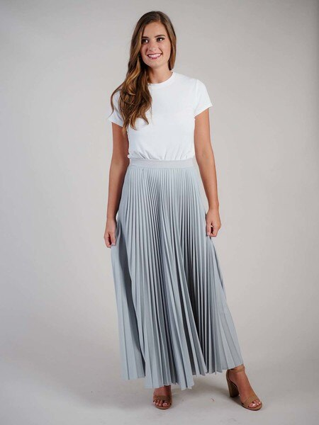 long silver pleated skirt