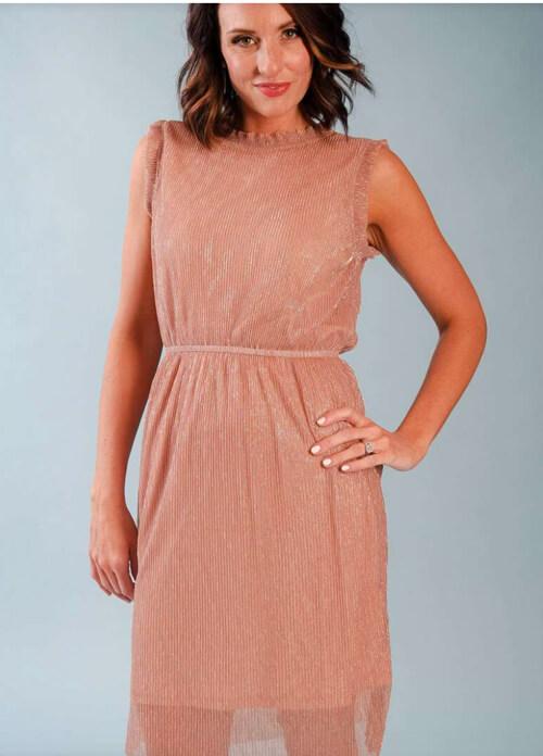 sleeveless shimmery pink dress