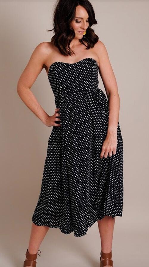 strapless black polka dot dress