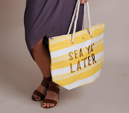 sea ya later straw tote