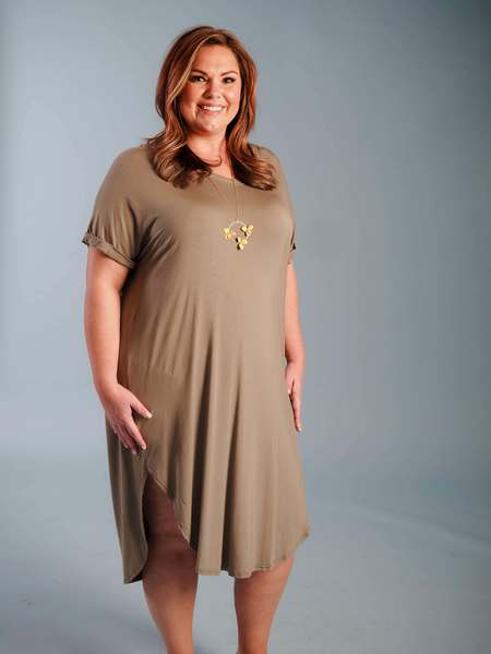 tan mid-length dress with sleeves