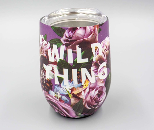 wild thing stainless steel wine tumbler with flowers